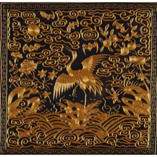 Silk Embroided 'Crane' Rank Badge, Late Qing Dynasty