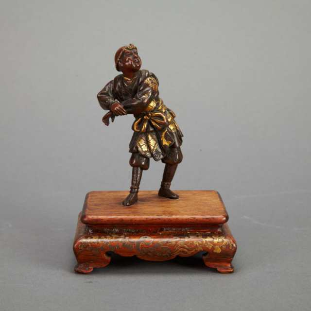 Small Mixed-Metal Model of an Entertainer, Signed Miyao Eisuke, 19th Century