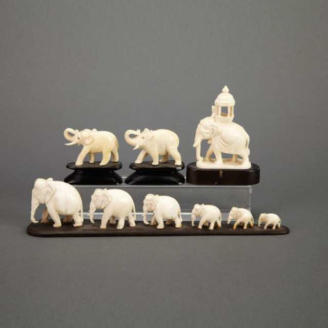 Group of Ivory Elephants