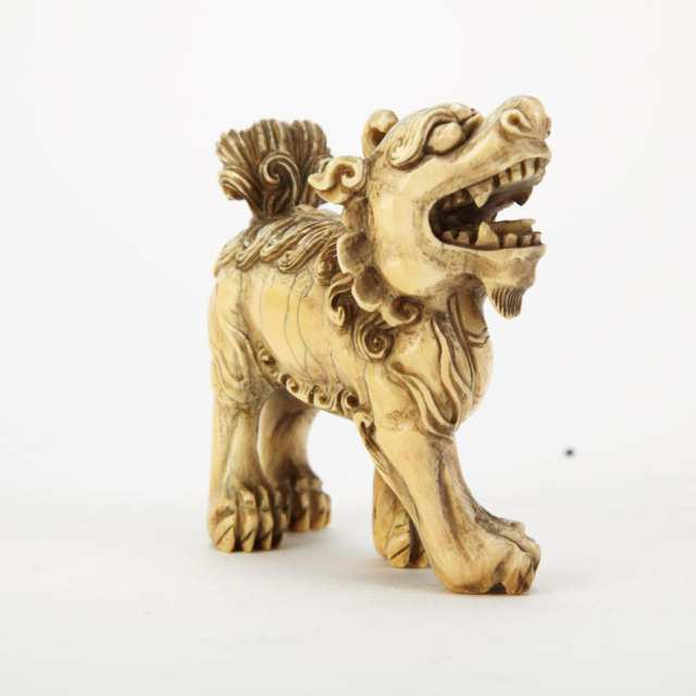 Ivory Carved Fu-Lion, Late Qing Dynasty
