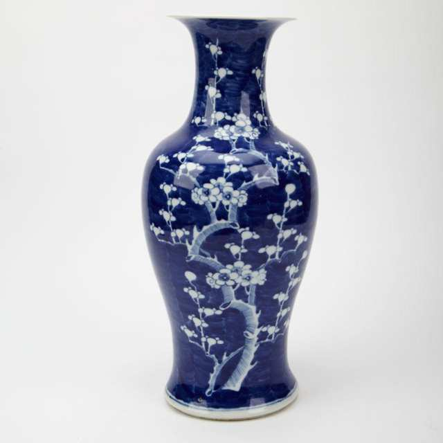 Large Blue and White 'Hawthorn and Prunus' Baluster Vase, Early 20th Century