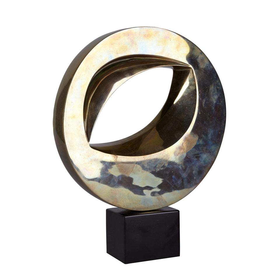 Unsigned, Bronze Circular Abstract on marble base