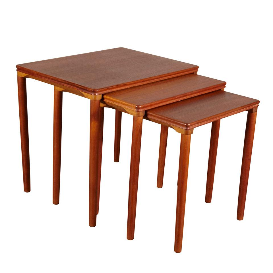 Set of Three Scandinavian  Teak Nesting Tables,