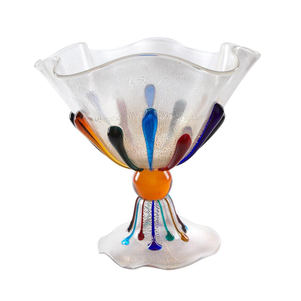 Murano Aventurine and Coloured Glass Large Footed Bowl, c.1980
