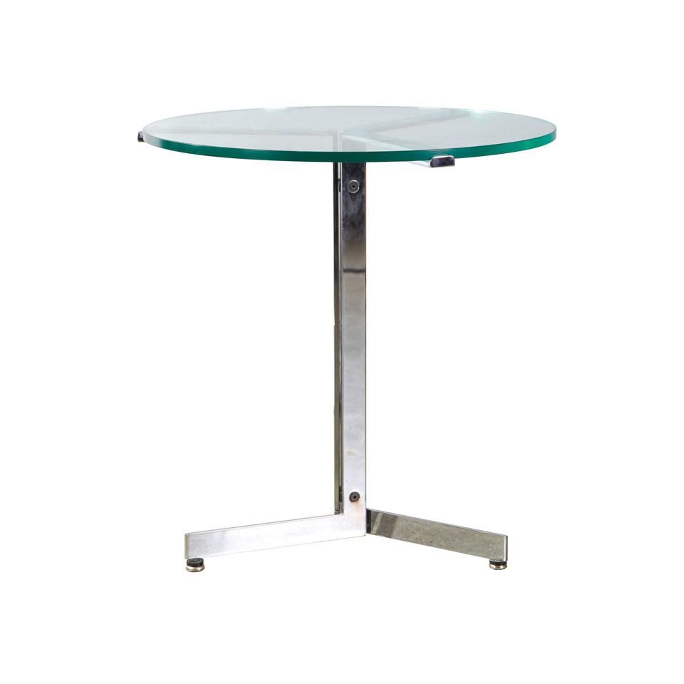 Chrome Flat Stock Steel End Table with Circular Glass Top,