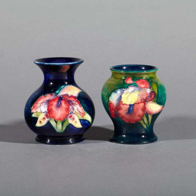 Two Moorcroft Orchids Small Vases, c.1960