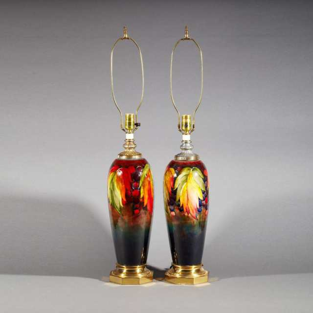 Pair of Moorcroft Flambé Grape and Leaf Table Lamps, c.1945-49