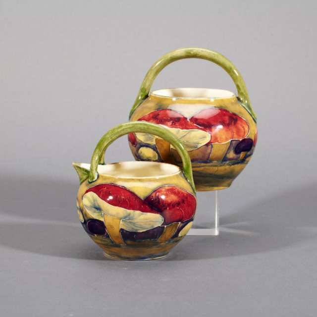 Moorcroft Claremont Cream Jug and Sugar Basin, dated 1914