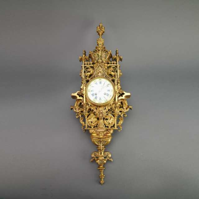 French Gothic Style Gilt Bronze Cartel Clock, c.1870