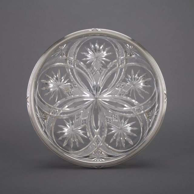 Russian Silver Mounted Cut Glass Circular Tray, Karl Fabergé, Moscow, 1908-17