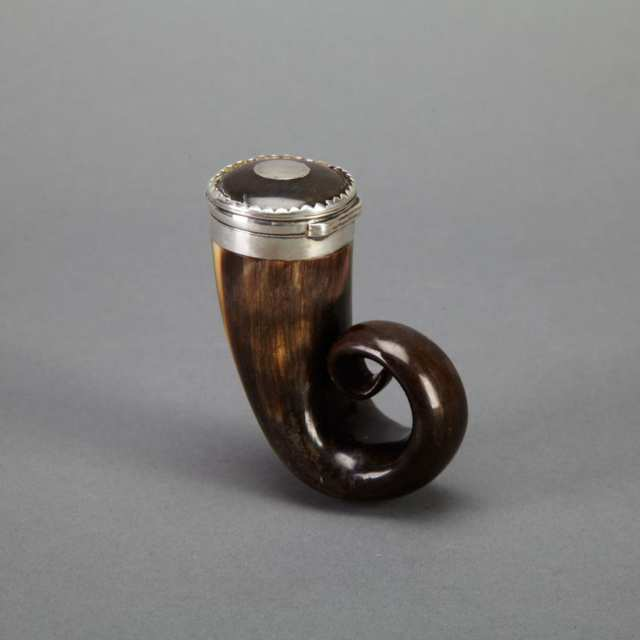 Scottish Silver Mounted Ram's Horn Snuff Mull, c.1800