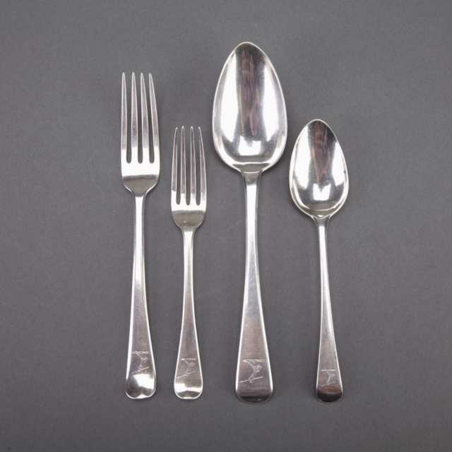 Georgian Silver Old English Pattern Flatware, various makers, London, 1795-1834