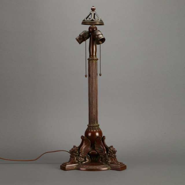 Handel Bronze Table Lamp Base, early 20th century