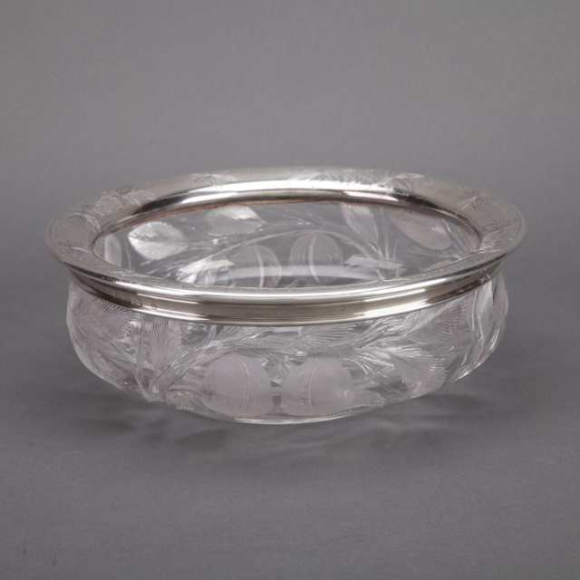 American Engraved Silver Mounted Etched and Cut Glass Bowl, Gorham Mfg. Co., Providence, R.I., 1910