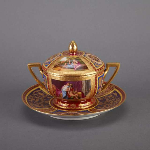 'Vienna' Covered Two-Handled Cup and Stand, late 19th century