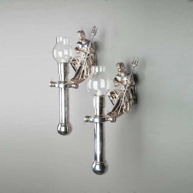 Set of Six Silvered Ship's Figural Wall Sconces, mid 20th century