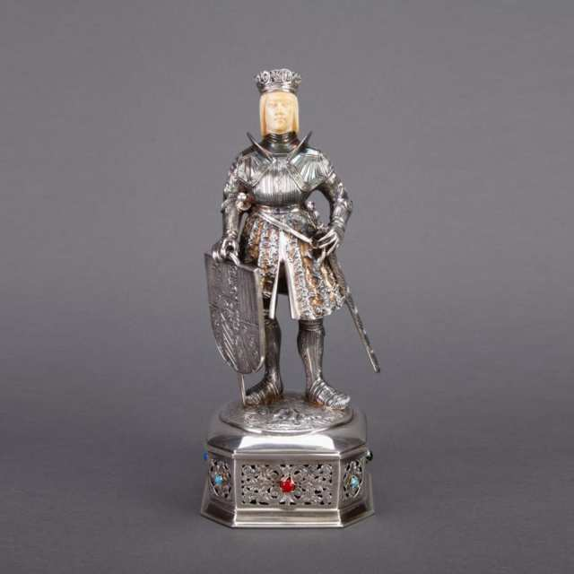 German Silver and Carved Ivory Figure of a Medieval Knight, early 20th century