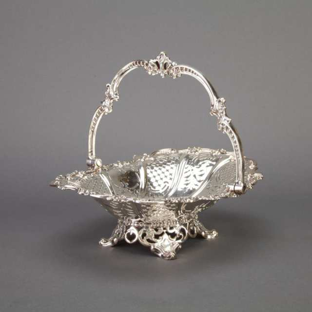 Victorian Silver Pierced Oval Cake Basket, Henry Wilkinson & Co., Sheffield, 1852