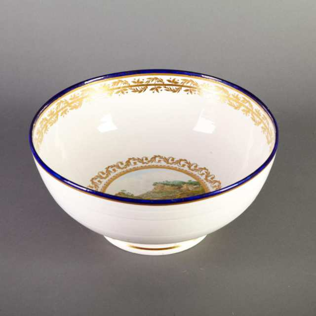 Rare Marked Duesbury & Kean Derby Topographical Punch Bowl, c.1795