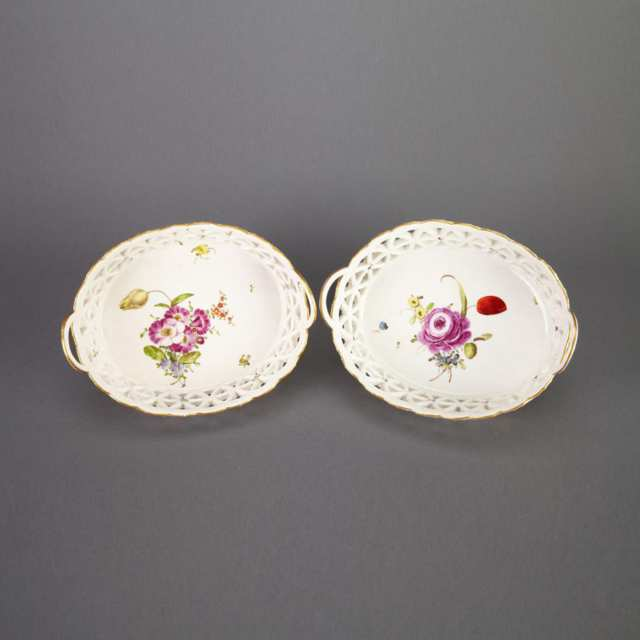 Pair of Ludwigsburg Two-Handled Oval Baskets, c.1780