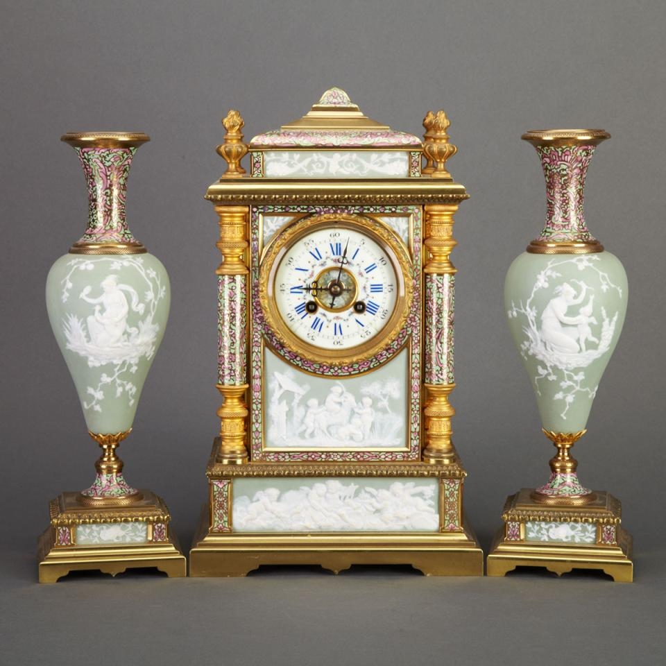 Three Piece French Biscuit Porcelain Mounted and Cloisonné Enamelled Gilt Bronze Clock Garniture, c.1910
