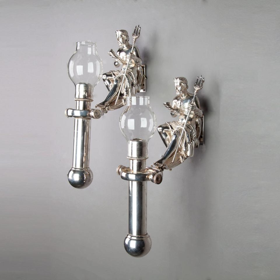 Set of Four Silvered Ship's Figural Wall Sconces, Miller's, London, early 20th century