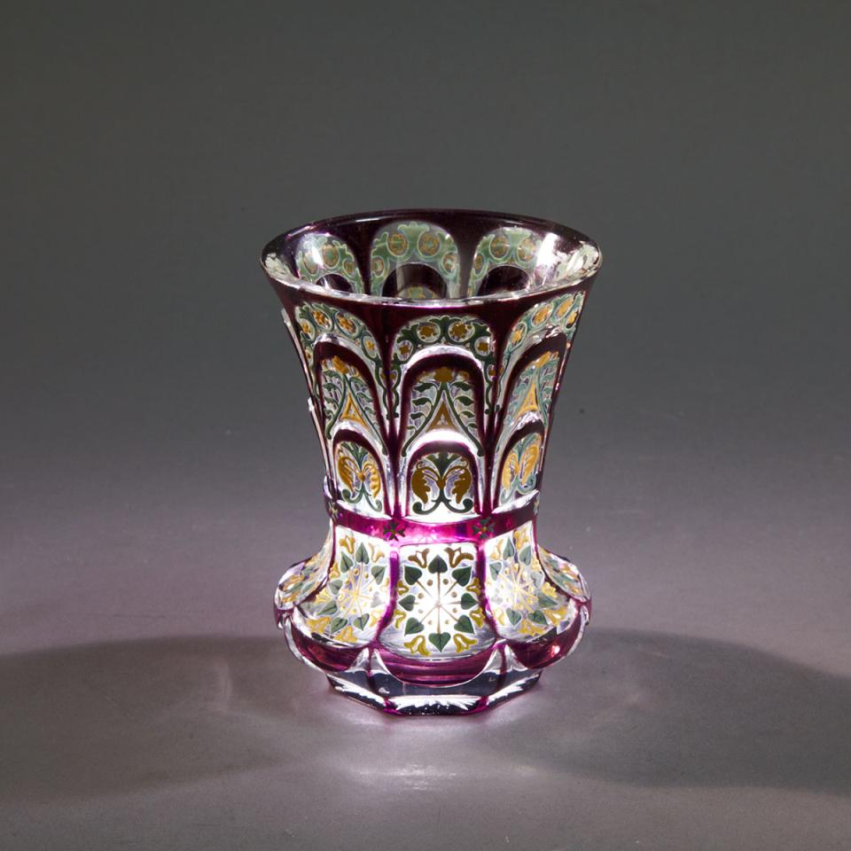 Bohemian Amethyst Overlaid, Cut and Enameled Glass Beaker, mid-19th century