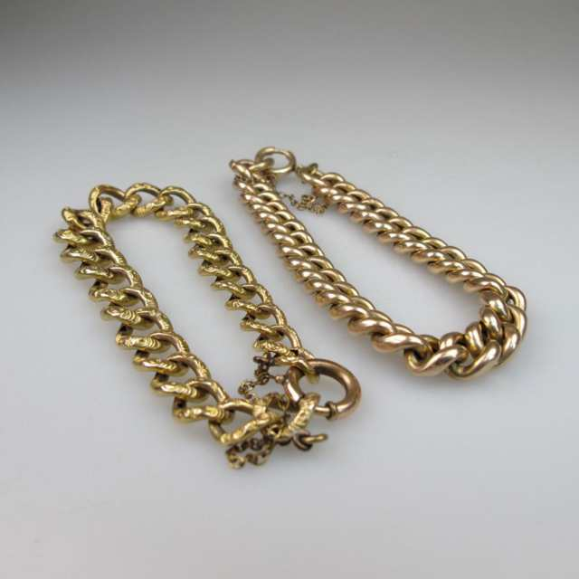 2 x 9k Rose And Yellow Gold Curb Link Bracelets