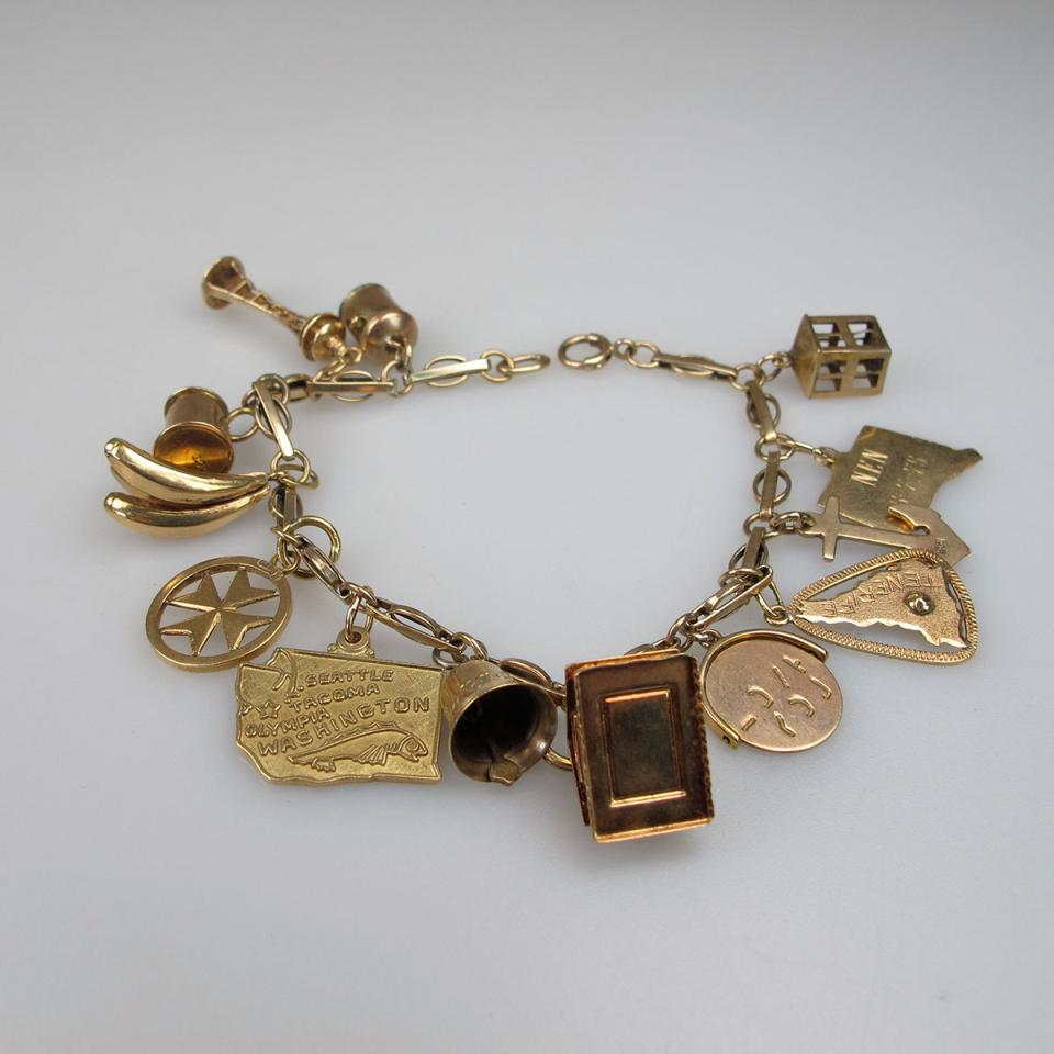English 9k Yellow Gold Charm Bracelet