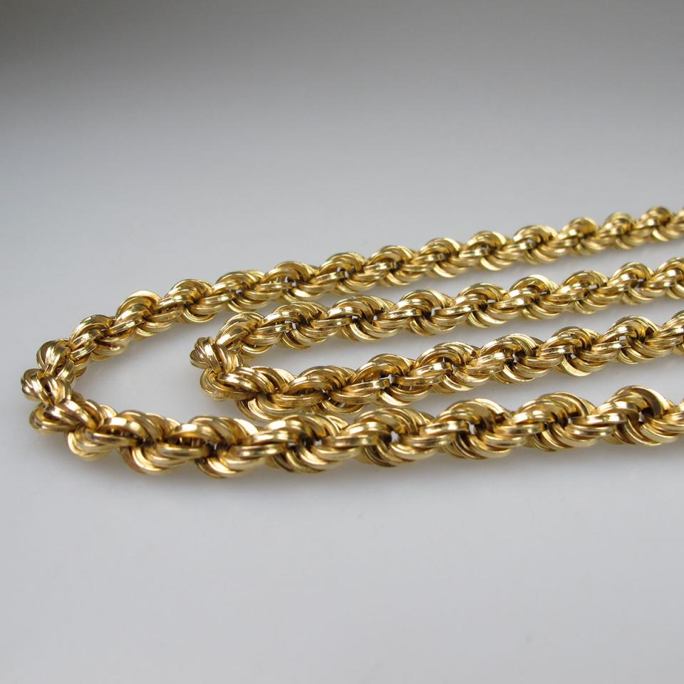 Italian 18k Yellow Gold Rope Chain