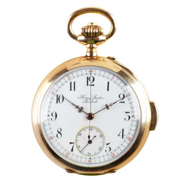 Henry Sandoz Openface Pocket Watch With Minute Repeat And Chronograph