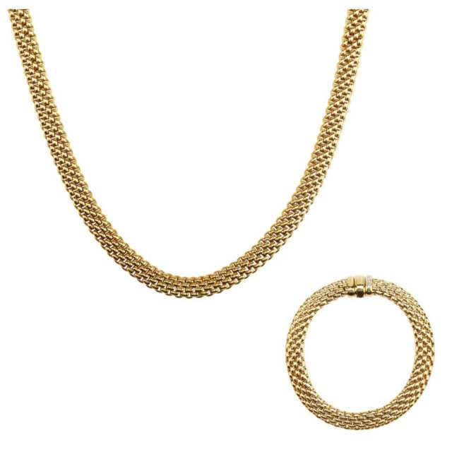 Fope Italian 18k Yellow Gold Mesh Necklace And Bracelet