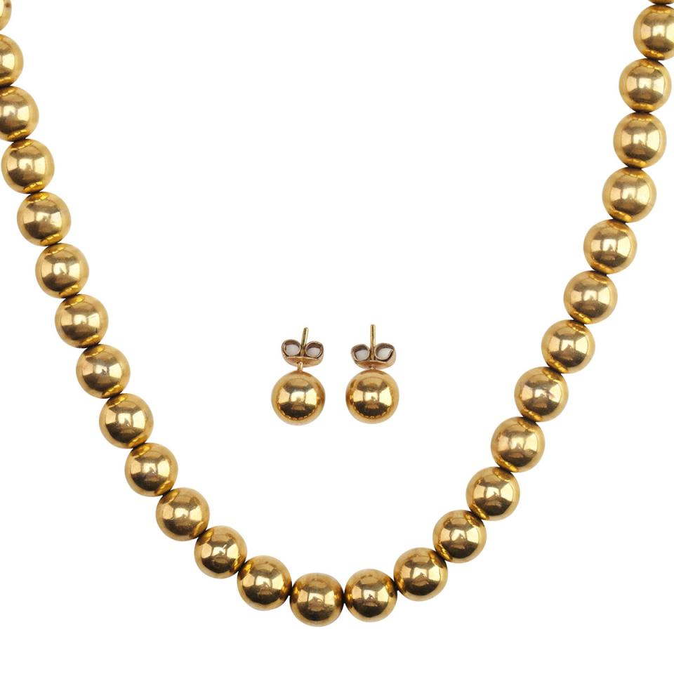 18k Yellow Gold Bead Necklace