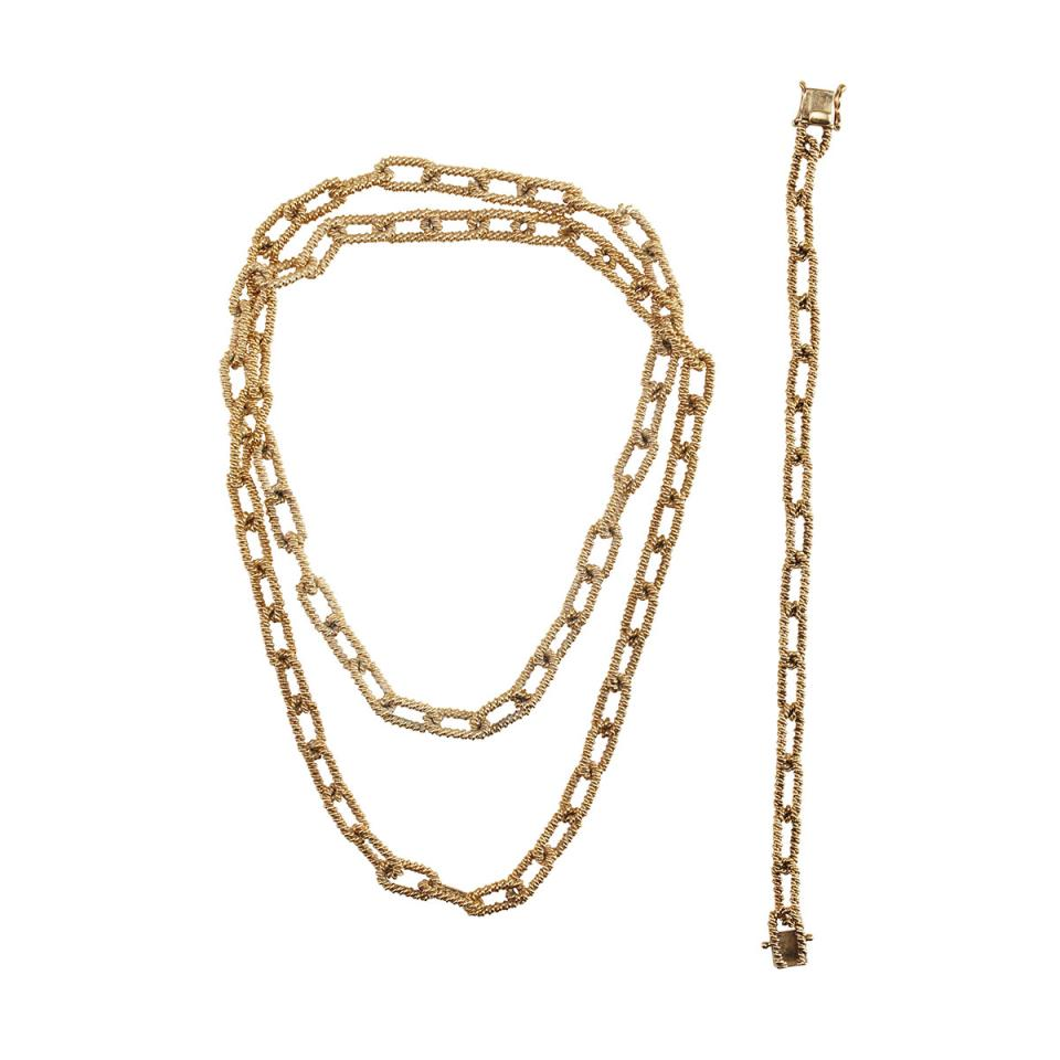 14k Yellow Gold Oval Link Endless Chain And Bracelet