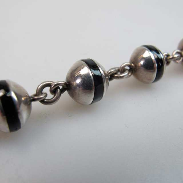 Mexican Sterling Silver And Onyx Bead Bracelet