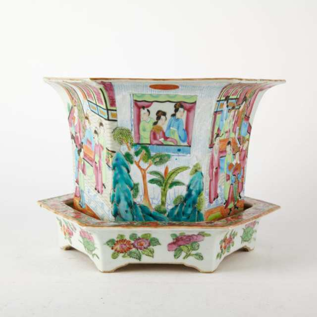 Rare Export Canton Rose Planter and Base, 19th Century