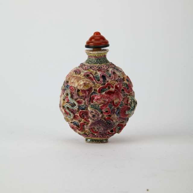 Moulded Famille Rose Porcelain Snuff Bottles, Qianlong Mark, Republican Period or Earlier