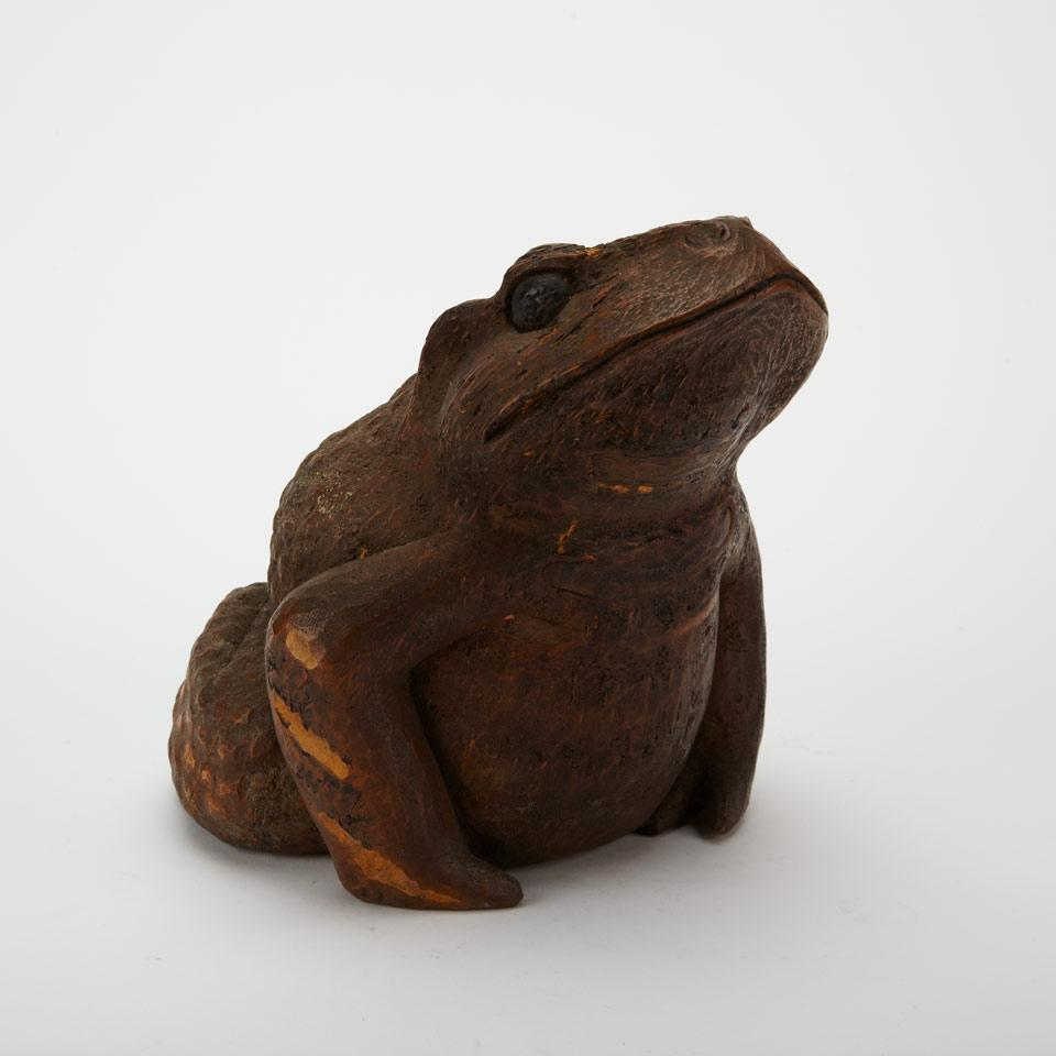 Large Bamboo Carving of a Toad