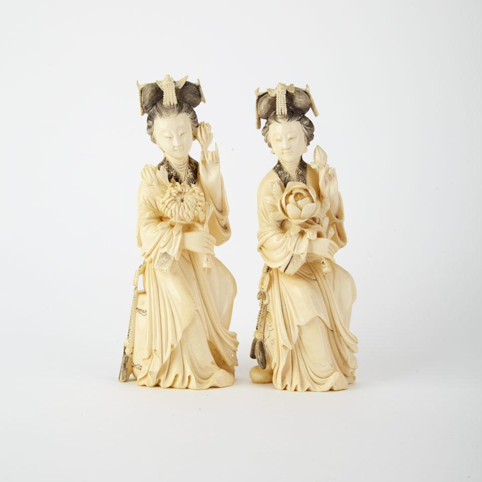 Pair of Ivory Carved Maidens