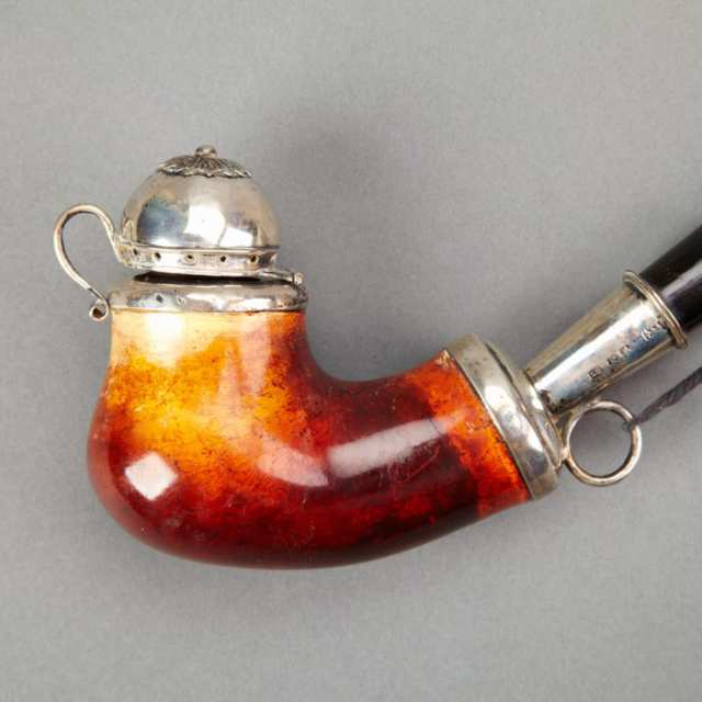 German SIlver Mounted Meerschaum Pipe, 19th century