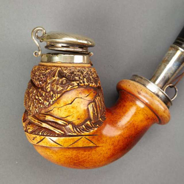 German Nickel Silver Mounted Meerschaum Pipe,  c.1900