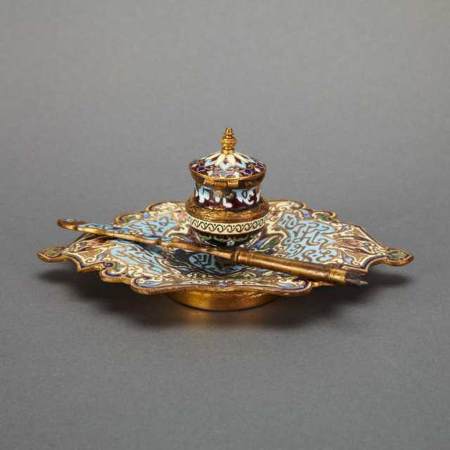 French Champlevé Enamelled Gilt Bronze Inkstand and Quill for the Turkish Market, 19th century