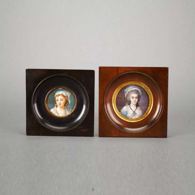 Two French Portrait Miniatures of Young Women, late 19th century