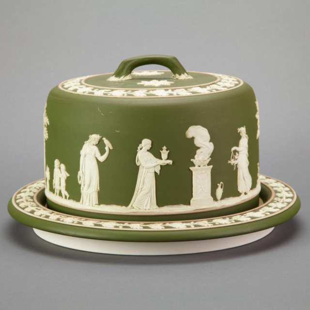 Wedgwood Green Jasper-Dip Cheese Dish and Cover, c.1900