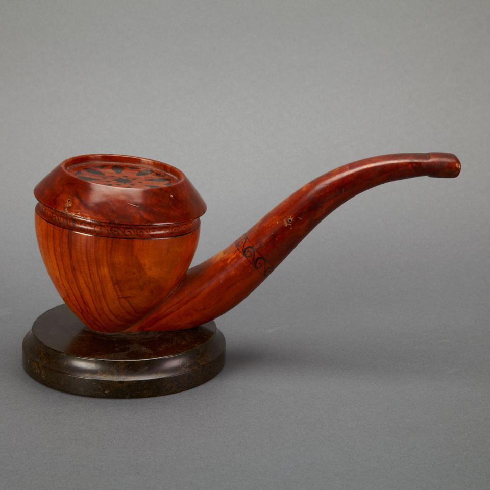 Figured Walnut Pipe Form Tobacco Cannister, early 20th century