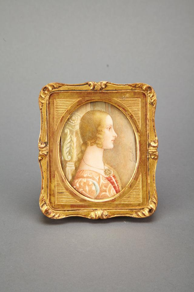 Italian Portrait Miniature of a  Young Woman, after Boticelli, 20th century
