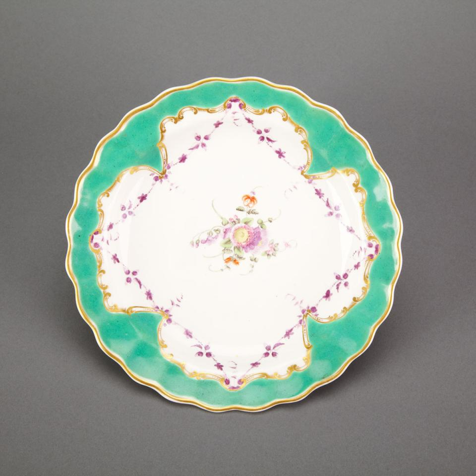 Worcester Green and Gilt Bordered Lobed Dessert Plate, c.1775