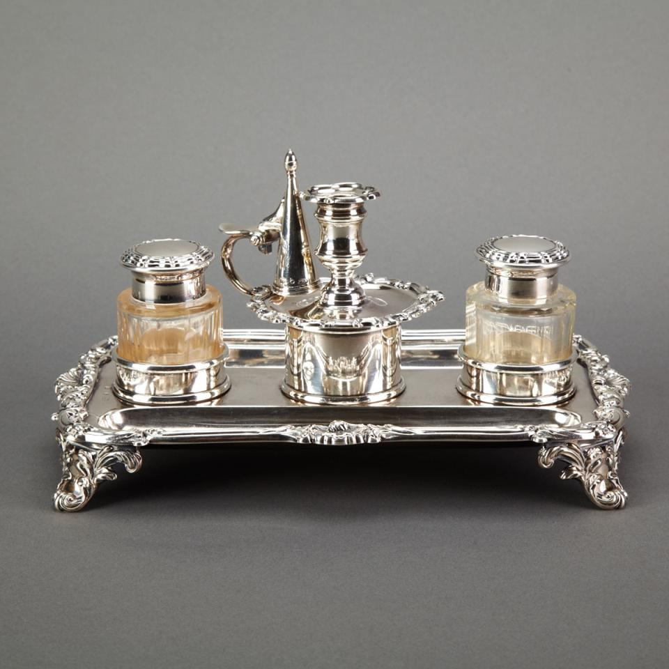 William IV Silver Inkstand, Creswick & Co., Sheffield, 1832