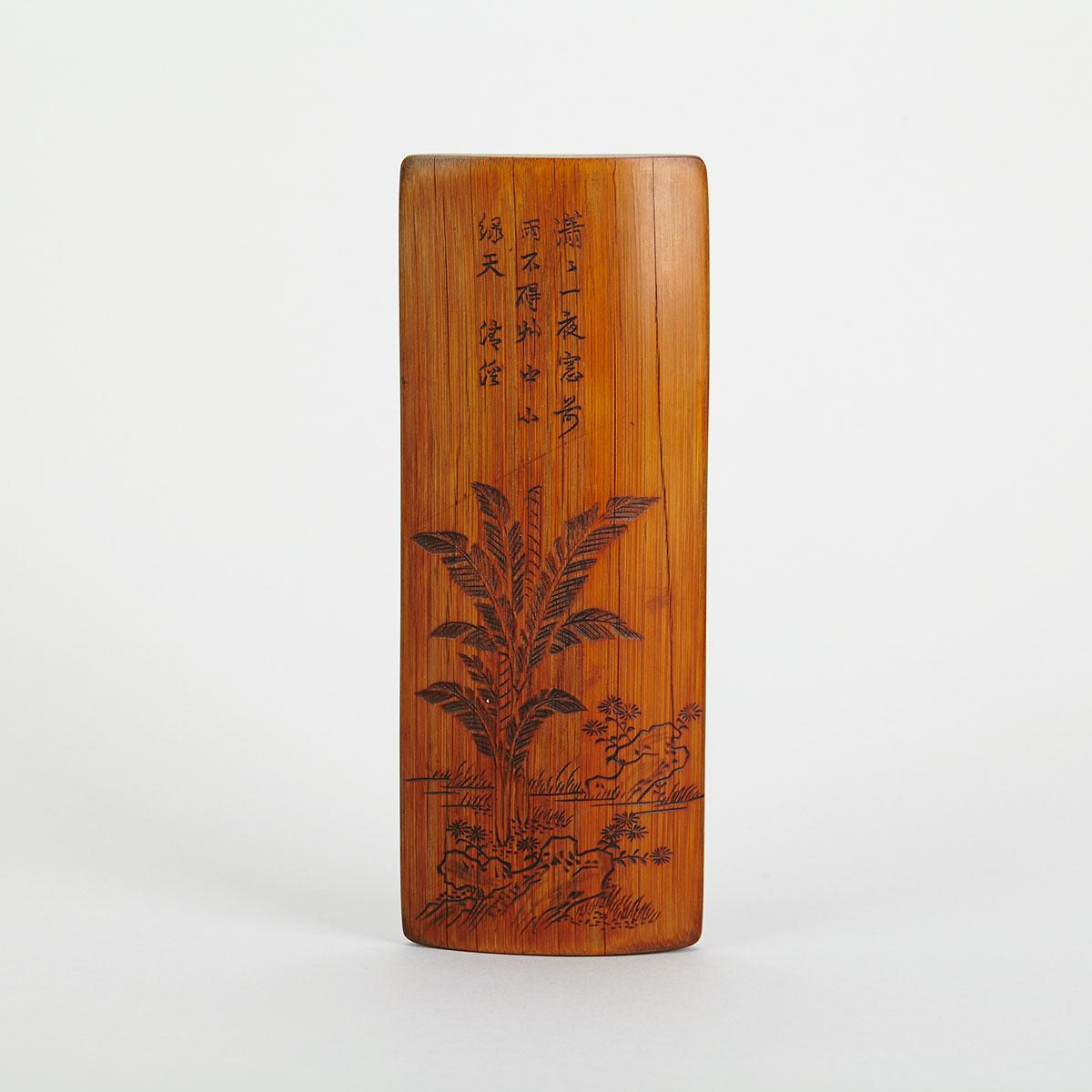 Inscribed Bamboo Wrist Rest