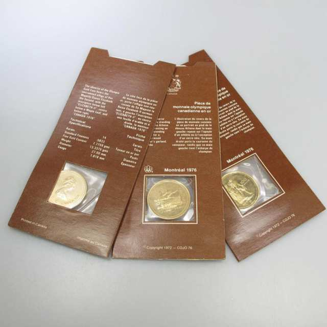 3 Canadian 1976 $100 14k Gold Coins